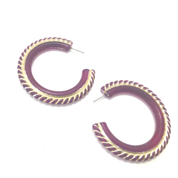Violet Carnival Large Hoop Earrings