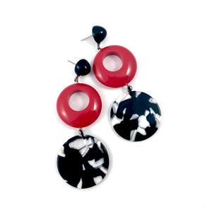 Black & Red Donut Drop Statement Earrings
