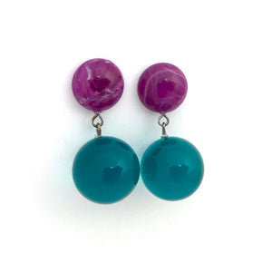 Emerald & Violet Lollipop Statement Lucite Drop Earrings