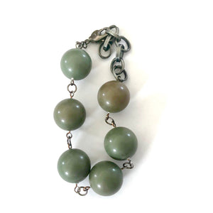 Moss Green Lucite Bubble Stations Bracelet