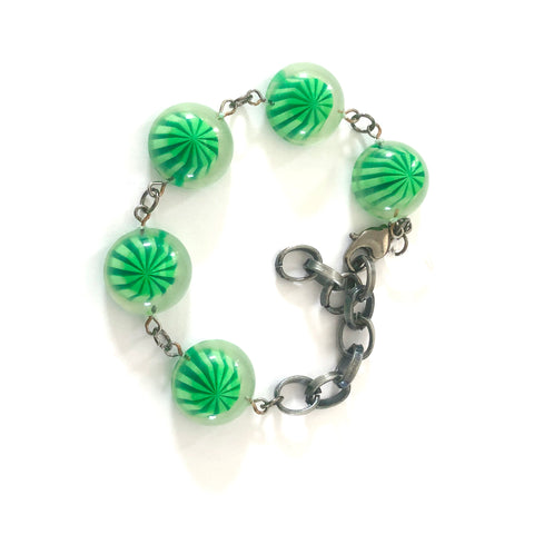 Lime & Kelly Green Gumdrop Stations Bracelet