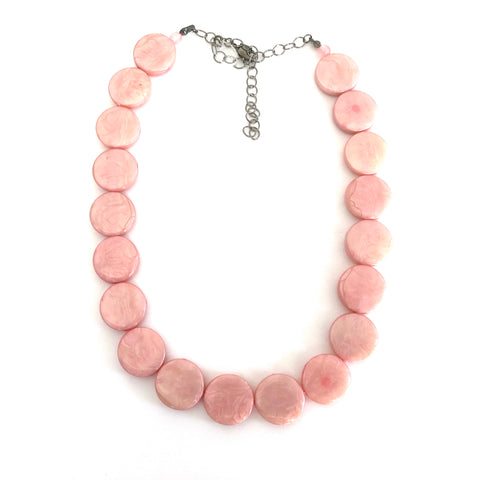 Pink Marbled Disc Marco Necklace