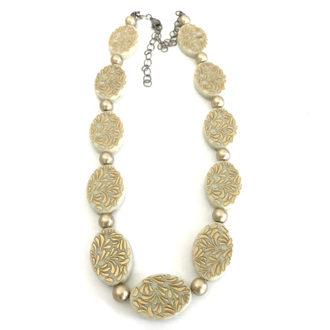 Ivory & Gold Oval Beaded Marco Necklace