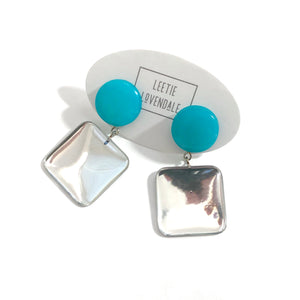 Teal Moonglow & Mirror Earrings