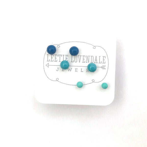 Aqua Ombre' Vintage Lucite Tiny Studs Set | 3 Pair of Tonal Earrings