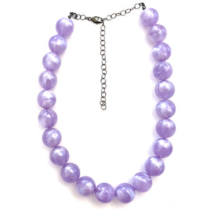 Lavender Purple Marbled Lucite Marco Necklace