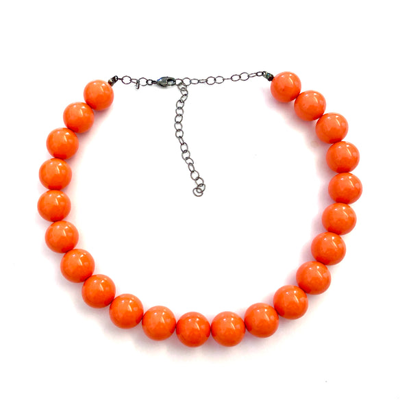Orange Beaded Vintage Lucite  Marco Necklace