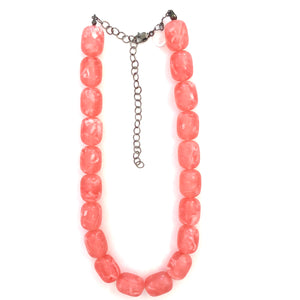 Pink & White Marbled Lucite Marco Necklace