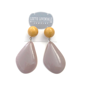Mustard & Lilac Taupe Avocado Drop Earrings