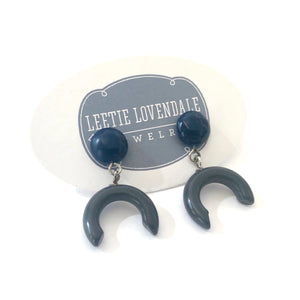 Grey & Navy Small Crescent Drop Earrings