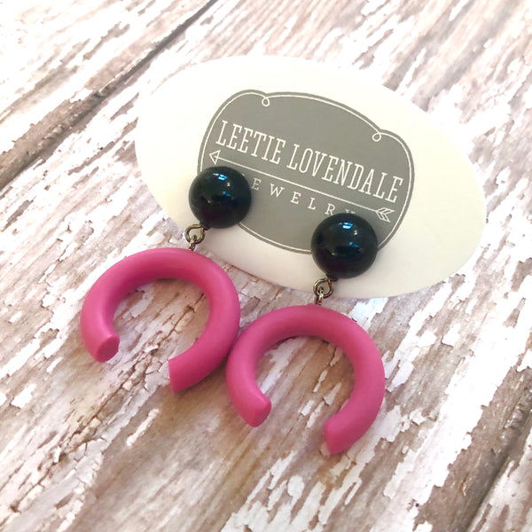 Black & Pink Medium Crescent Drop Earrings
