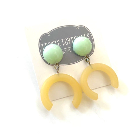 Mint Green & Lemon Yellow Medium Crescent Drop Earrings