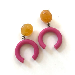 Tangerine & Watermelon Pink Medium Crescent Drop Earrings