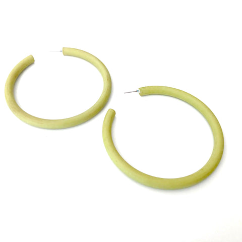 Chartreuse Matte Barely Bangle Hoop Earrings