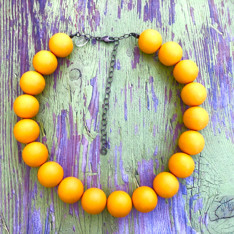 Marigold Yellow Chunky Beaded Marco Necklace