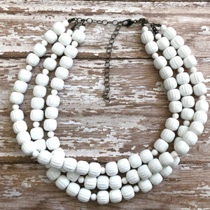 White Faceted Small Barrel Beaded Morgan Necklace