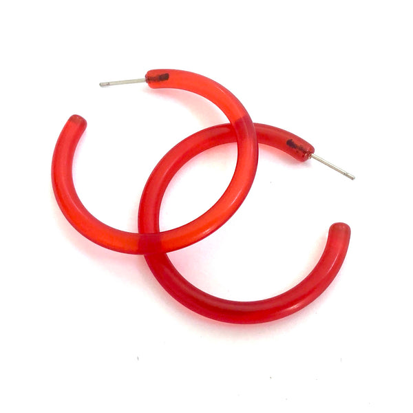 Red Transparent Large Lucite Skinny Jelly Tube Hoop Earrings