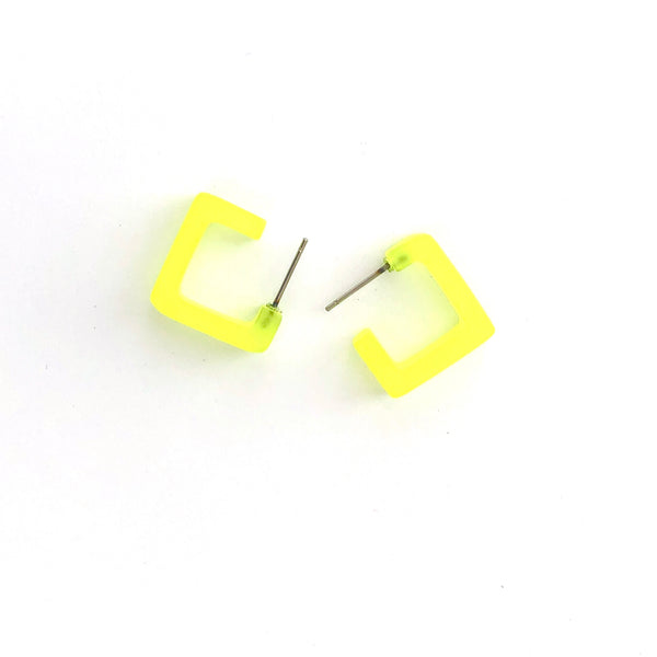 Neon Yellow Small Geometric Square Hoop Earrings