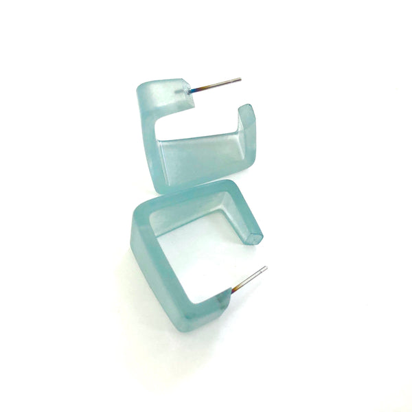 Teal Square Wide Cubist Frosted Lucite Hoop Earrings