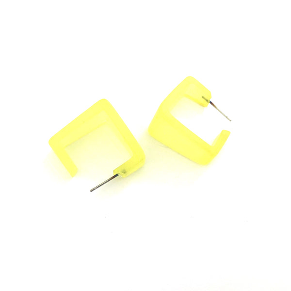 Lemon Yellow Wide Cubist Square Frosted Lucite Hoop Earrings