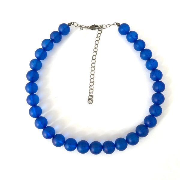 Sapphire Blue Beaded Vintage Speckled Lucite Marco Necklace
