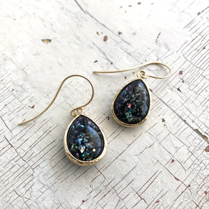 Black 'Mermaid Tears' Drop Earrings