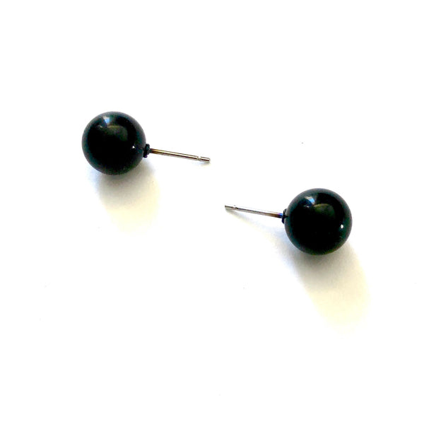 Black Petite Lucite Ball Stud Earrings