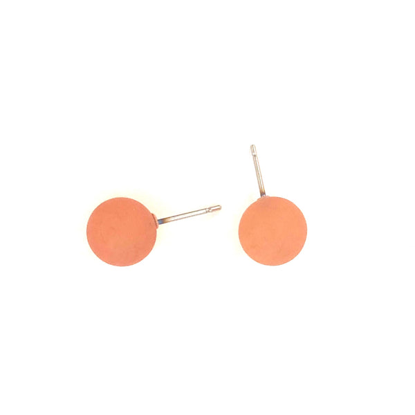 Burnt Coral Petite Frosted Lucite Ball Stud Earrings