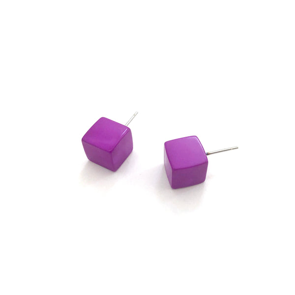 Violet Midi Cube Stud Earrings