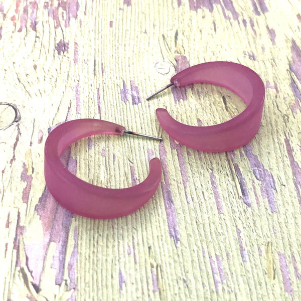 Amethyst Large Marilyn Frosted Lucite Hoop Earrings