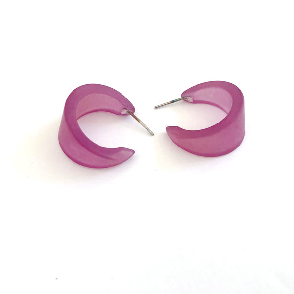 amethyst frosted hoops