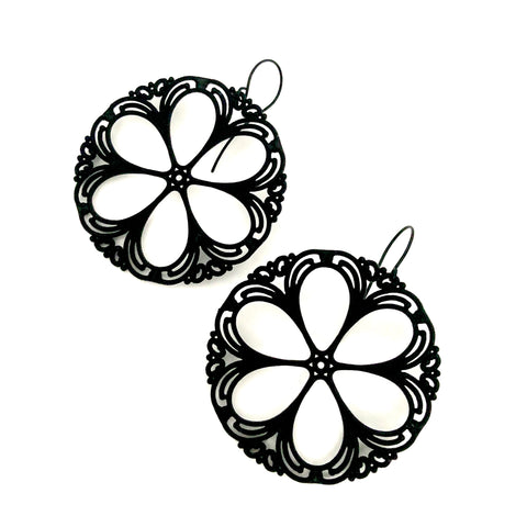 Black Lace Shield Filigree Drop Earrings