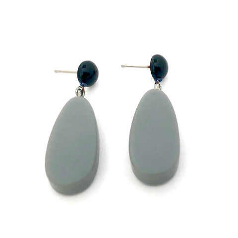 Grey Matte Alex Drop Earrings