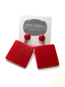 Cherry Red Mod Earrings - Bold Square Drops - Geometric Vintage Lucite Earrings
