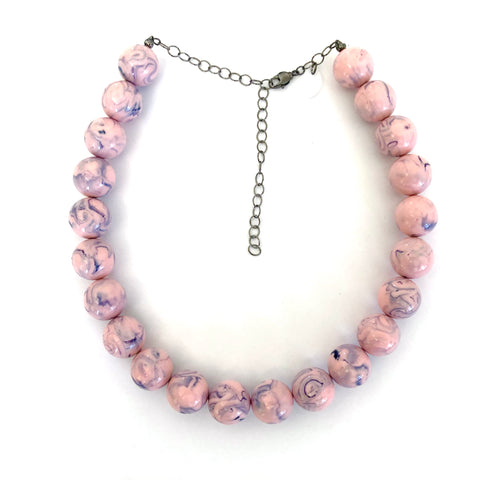 Pink & Grey Marbled Marco Necklace