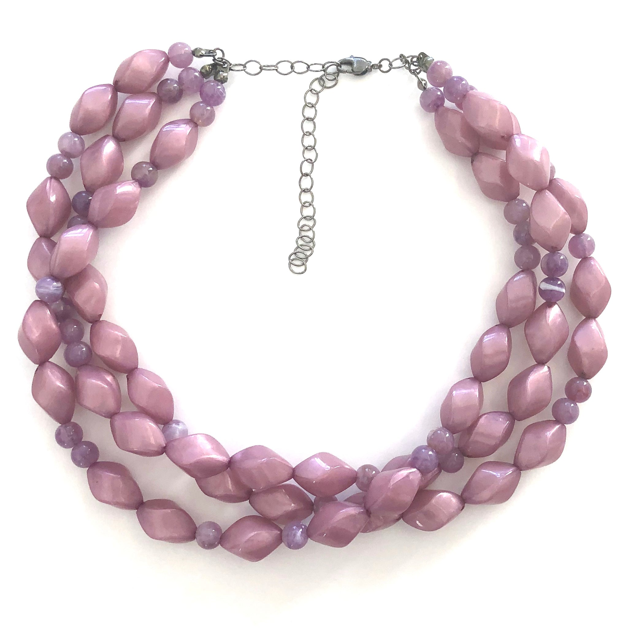 Lilac Pearlized with Mauve Twist Beaded Morgan Necklace