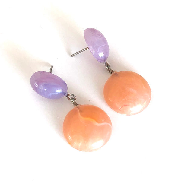 Lilac Purple & Peach Marbled Geo Drop Earrings