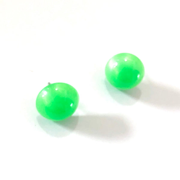 Neon Green Aura Glow Retro Button Studs