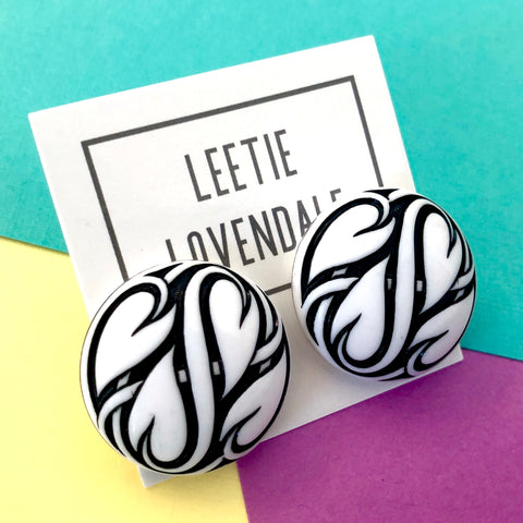 Black & White Hearts Aflame Retro Button Stud Earrings