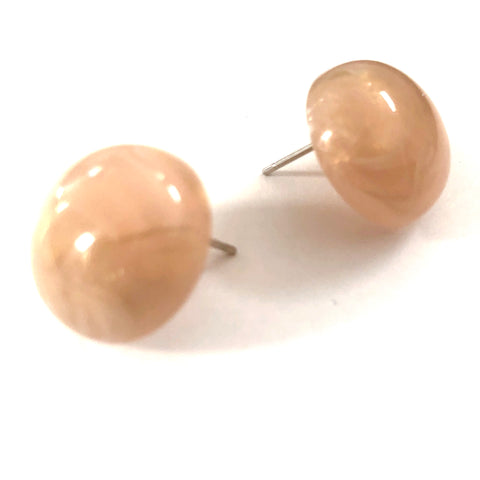 Peach & Gold Metallic Marbled Retro Button Studs