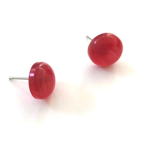 Red Moonglow Retro Button Disc Stud Earrings