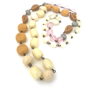 Golds & Cream Rosary Chain Necklace