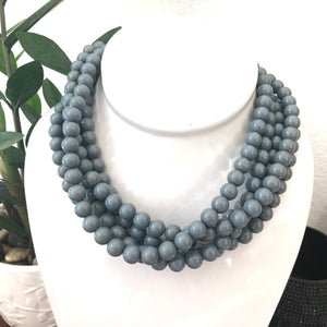 Grey Lucite Beaded Sylvie Statement Necklace