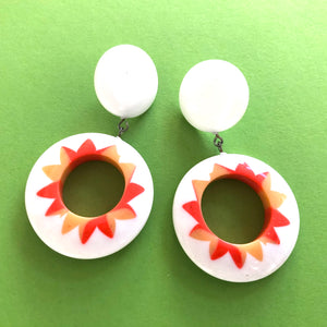 Orange & White Sunshine Donut Drop Earrings