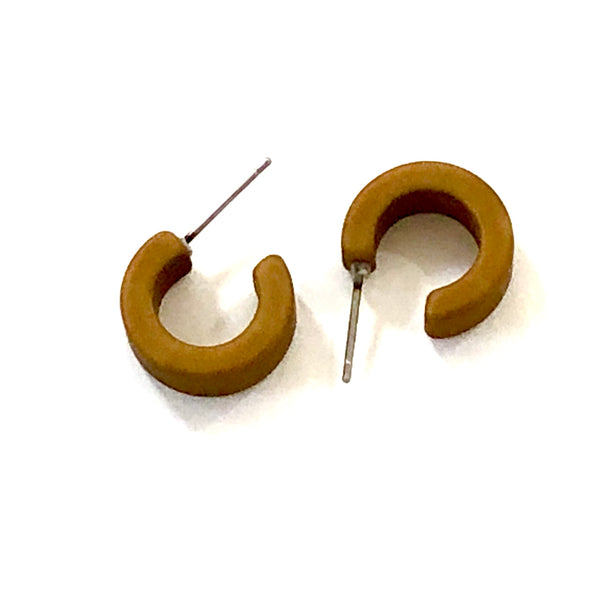 Camel Beige Matte Mini Hugger Hoop Earrings