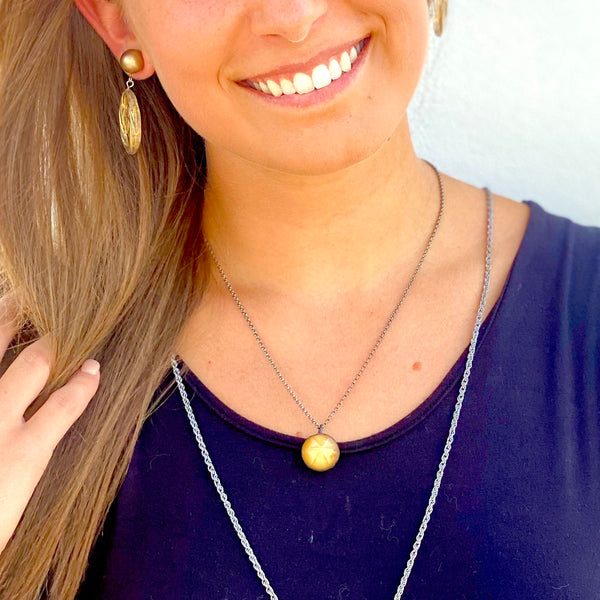 Frosted 24k Gold Paperclip Chain Layering Necklace - Shortie