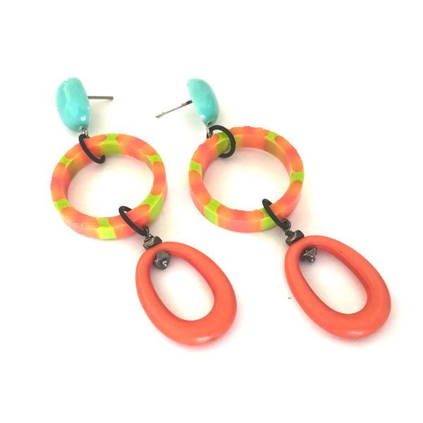 Deep Coral & Lime Striped Triple Donut Statement Earrings