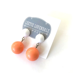 White & Coral Lollipop Statement Lucite Drop Earrings