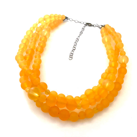 Golden Yellow Frosted Beaded Multi Strand Morgan Necklace