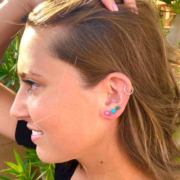 Blue Ombre' Vintage Lucite Tiny Studs Set | 3 Pair of Tonal Earrings